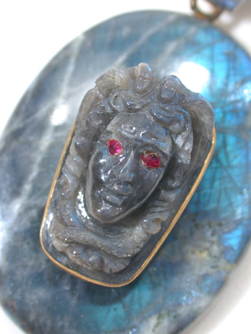 Carved Labradorite Pendant of Medusa