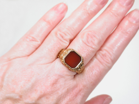 Classically Inspired Carnelian Ring