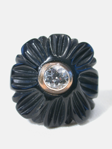 Victorian Whitby Jet & Diamond Ring