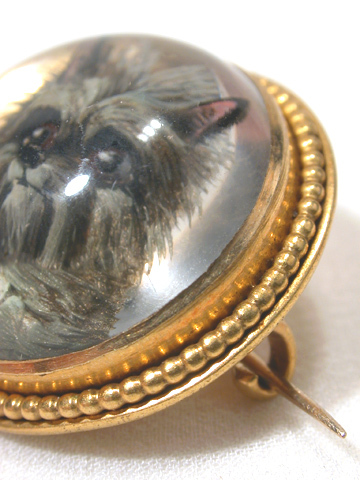 Antique Essex Crystal Dog Brooch