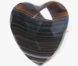 Victorian Banded Agate Heart Brooch