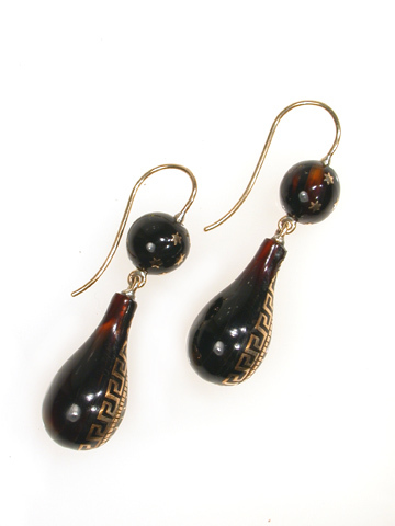 Antique Victorian  Piqué Earrings