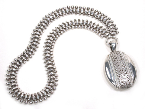 Victorian Silver Locket & Bookchain Collar