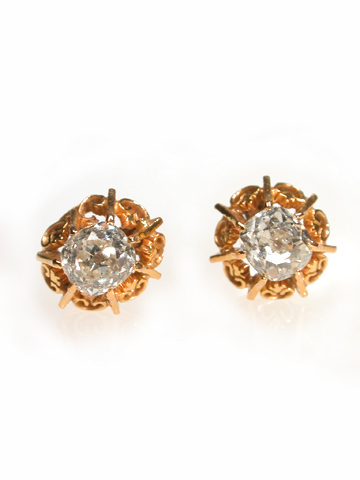 Antique Diamond Single Stone Earrings