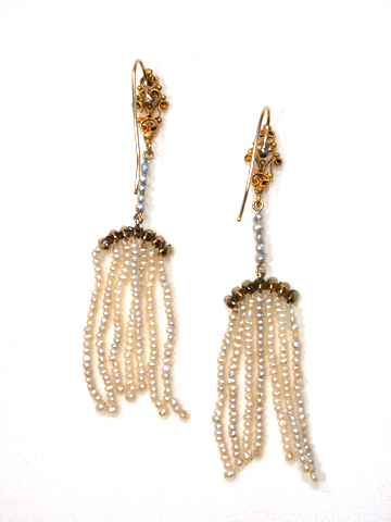 Edwardian Tears: Pearl Tassel Earrings