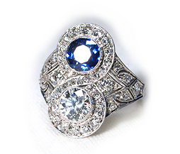 Art Deco Diamond Sapphire Ring - The Three Graces :  art deco antique ring