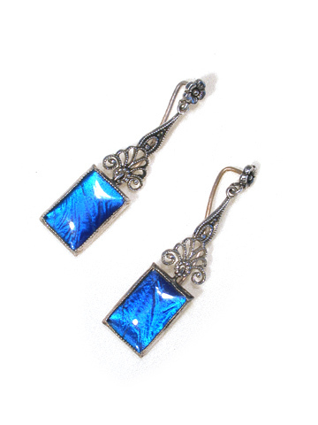 Marked Art Deco Butterfly Wing Earrings
