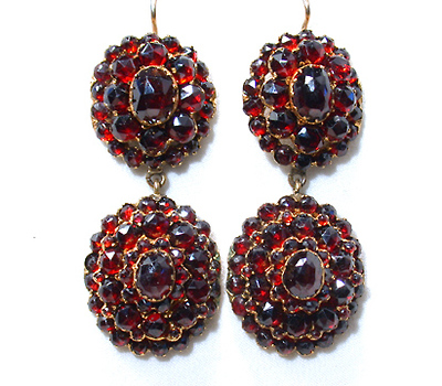 19th c. Bohemian Garnet Earrings