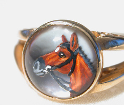 Unusual Essex Crystal Equine Portrait Ring - The Three Graces