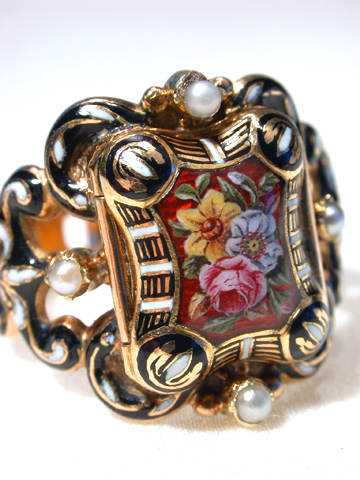 Exemplary Antique Swiss Enamel Locket Ring