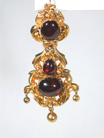 Georgian Garnet & Gold Repoussé Earrings