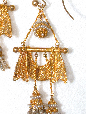 Spanish Armada: Pearl & Gold Antique Drop Earrings