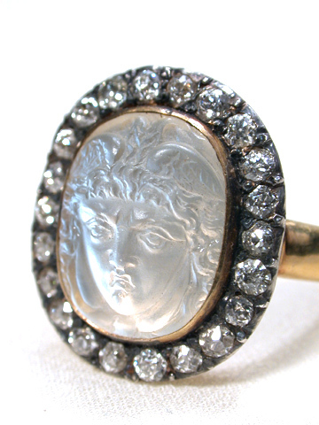 Antique Carved Hermes Moonstone Diamond Ring