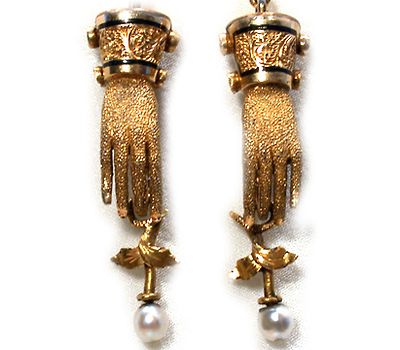 Flower in Hand: Victorian Enamel & Gold Earrings