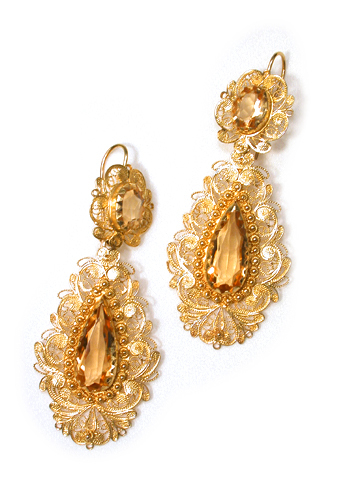 Antique Cannetille Citrine Long Earrings