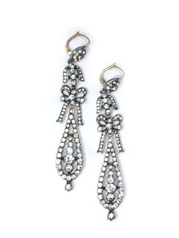 Long French Antique Paste Earrings