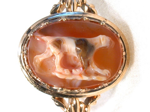 Georgian Dog Motif Hardstone Cameo Ring