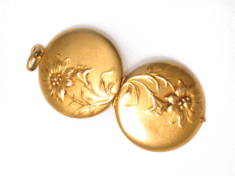 Art Nouveau Gold Locket Pendant