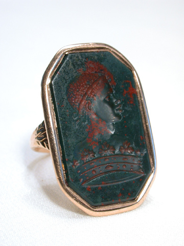 Scarce Georgian Blackamoor Bloodstone Seal Ring