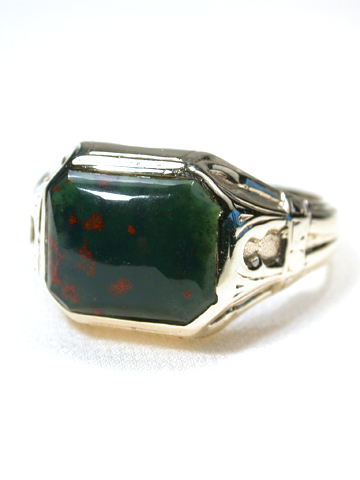 Gothic Revival in a  Bloodstone & Gold Ring
