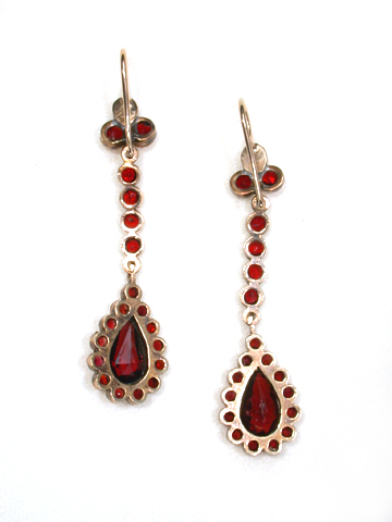 Edwardian Bohemian Garnet Drop Earrings