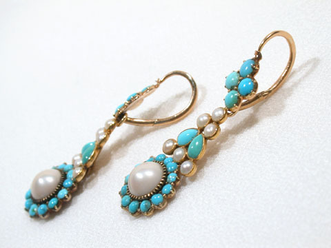 Turquoise & Natural Pearl Three Drop Earrings