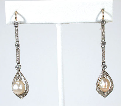 Exceptional Edwardian Pearl & Diamond Earrings