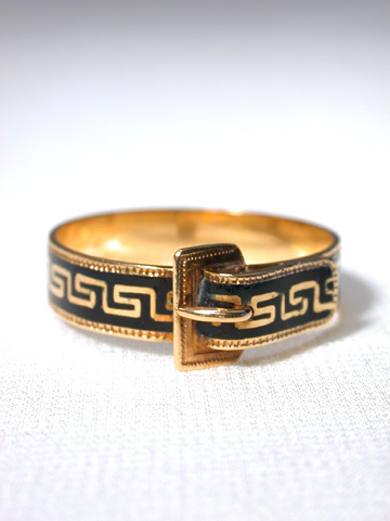 Antique Enamel Ring with Greek Key Motif