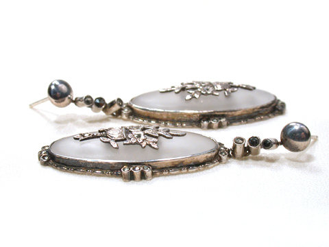 Edwardian Camphor Glass & Marcasite Earrings