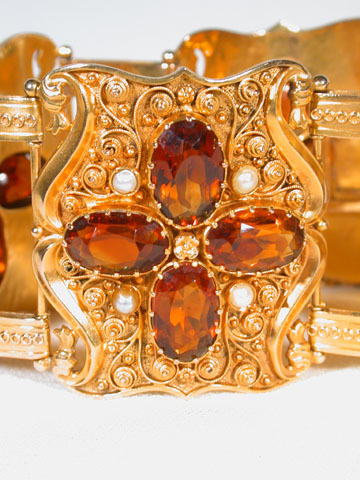 Magnificent Hessonite Garnet and Pearl Bracelet