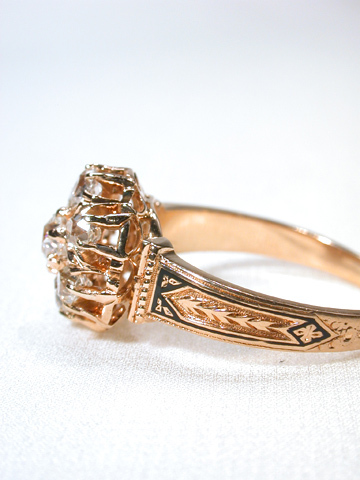 Lush Antique Diamond & Enamel Ring