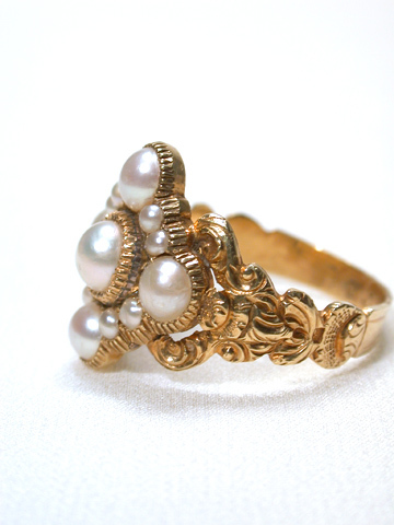 Antique Natural Pearl Ring in Original Box