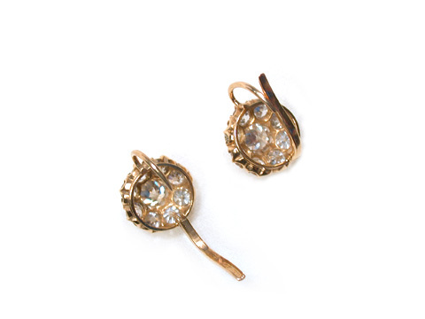 Victorian Antique Diamond Cluster Earrings
