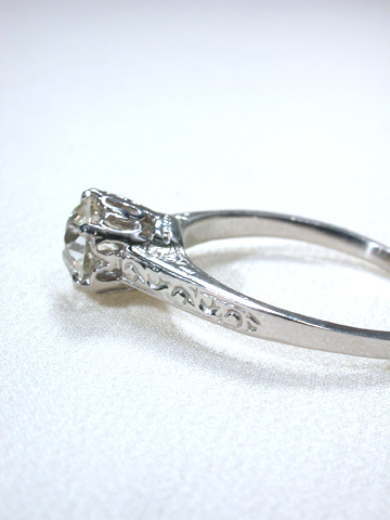 Art Deco Solitaire Diamond Engagement Ring