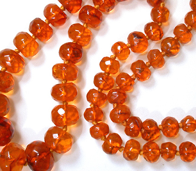 Art Deco Amber Flapper Beads