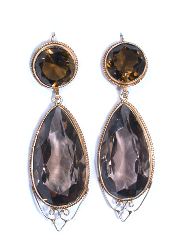 Modern Smoky Quartz Pendant Earrings