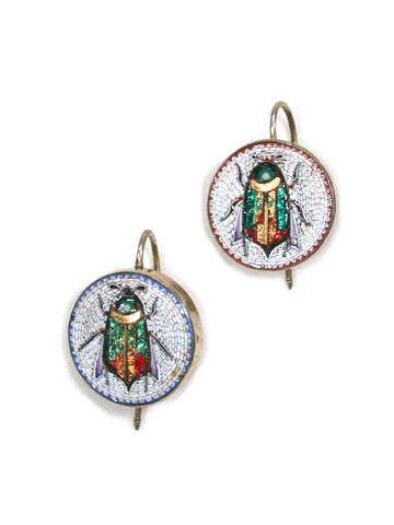Victorian Micro Mosaic Scarab Earrings