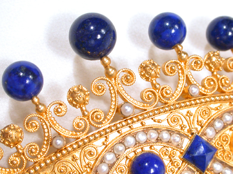 Fit for a Queen: Antique Lapis & Gold Hair Comb
