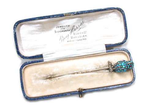 Who's Wise?  Pavé Turquoise Owl Stickpin in Box