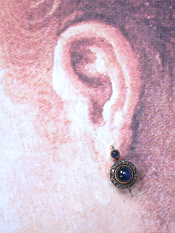 Antique Sapphire Diamond Earrings