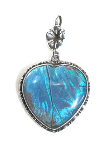 Art Deco Butterfly Heart Pendant