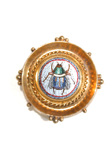 Antique Micromosaic Scarab Brooch