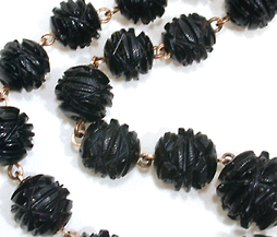 Intricately Carved Pristine Whitby Jet Beads
