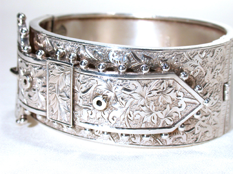 Dramatic Victorian Silver Buckle Bracelet