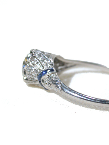 Incandescent Dreams - Antique Diamond Sapphire Ring 1.0 C