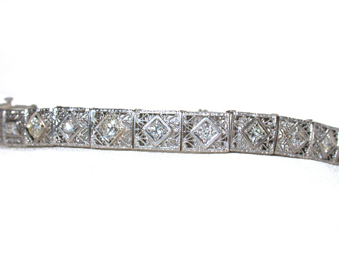 Edwardian Diamond Filigree Bracelet