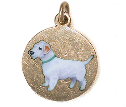 Art Deco Gold Charm with White Enamel Dog