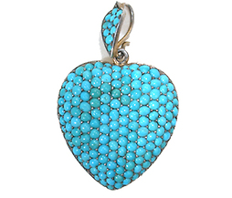 Antique Turquoise Pavé  Heart Pendant Locket