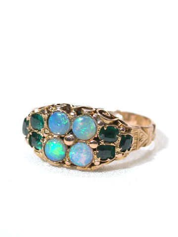 Opals & Emeralds in a Victorian Ring