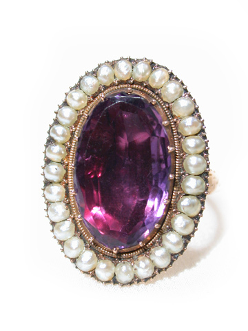 Georgian Pearl & Amethyst Ring c. 1820